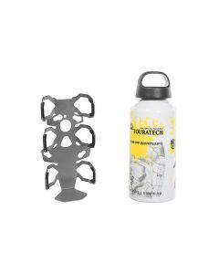 ZEGA Pro/ZEGA Mundo Zubehörhalterset Flaschenhalter einfach mit Touratech Aluminium Trinkflasche 0,6 Liter
