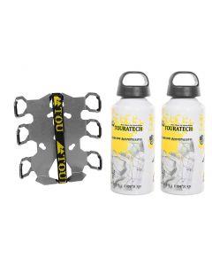 ZEGA Pro/ZEGA Mundo Zubehörhalterset Flaschenhalter zweifach mit 2x Touratech Aluminium Trinkflasche 0,6 Liter