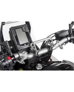 GPS-Anbauadapter auf Lenkerklemmung mit Schrauben für Lenkererhöhung 20 mm, Yamaha Tenere 700, für Navi-Halter